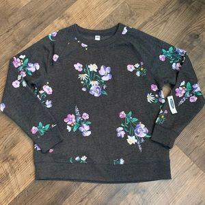 Soft Charcoal Gray OLD NAVY Sweatshirt w/ Flowers